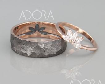 Marquise Diamond Wedding Bands Set |  14K Rose Gold His and Hers Wedding Rings Set | Marquise Diamond Ring | Black Rhodium Gold Band