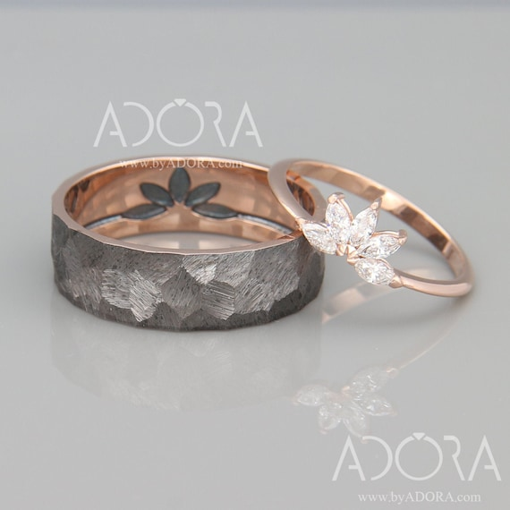 Marquise Diamond Wedding Bands Set 14k Rose Gold His And Etsy