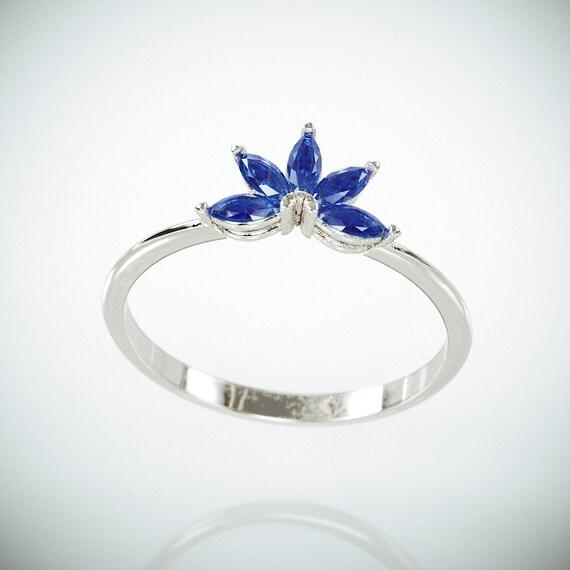 Ausverkauf 14k White Gold Marquise Blauen Saphir Hochzeit Etsy