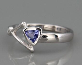 14k White Gold Ring set with Tanzanite and Diamond | Solid 14k white gold ring set with trillion cut natural Tanzanite and a diamond