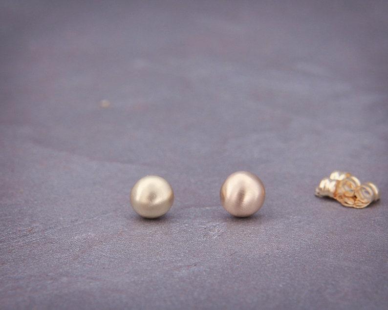 14K Gold Pebbles Stud Earrings Ball Earrings Handmade gold half round stud earrings matte style 4mm 5mm 6mm 7mm Stud Earrings