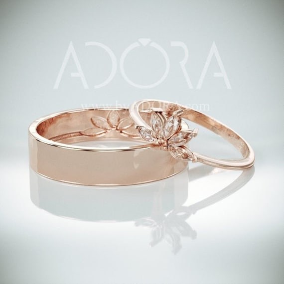 14k Rose Gold Wedding Ring Set His And Hers Wedding Band Etsy