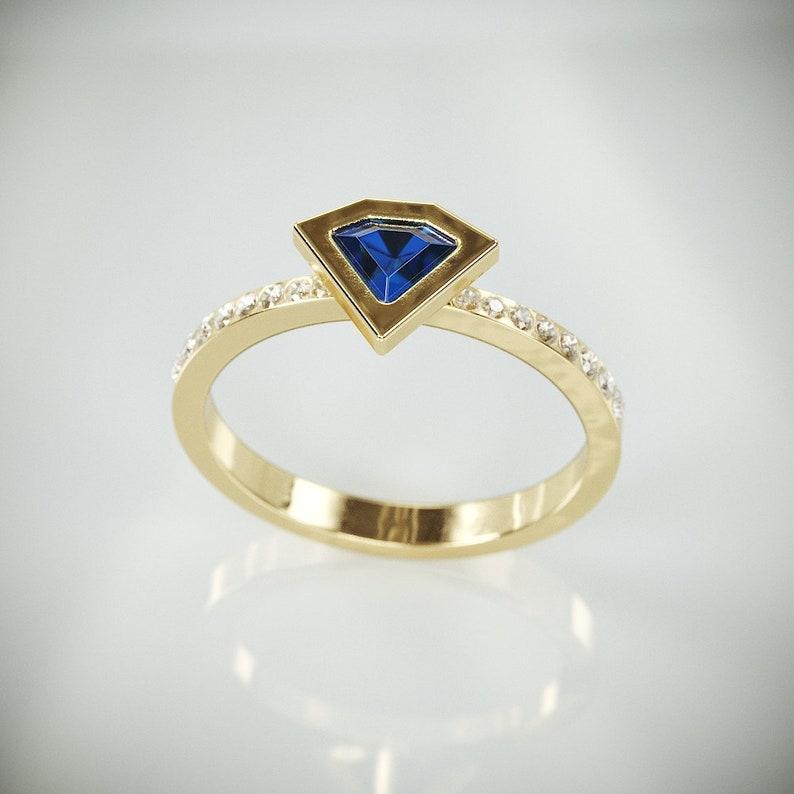 Diamond Cut Blue Sapphire Engagement Ring | 14k Gold Engagement Ring set  with Lab Created Blue Sapphire and Diamonds