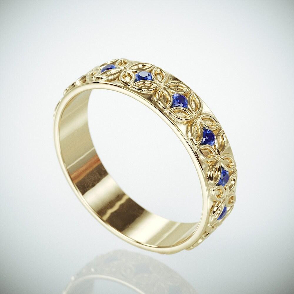 Ausverkauf 14K Gold keltische Blume Frau Hochzeit Ring Set | Etsy