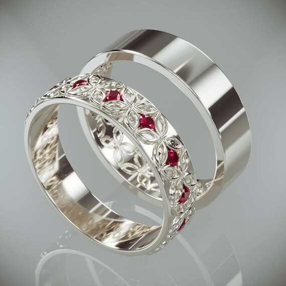 14k White Gold Celtic Flower Wedding Rings Set With Ruby His And Hers 14k White Gold Celtic Flower Wedding Bands Set With Rubies