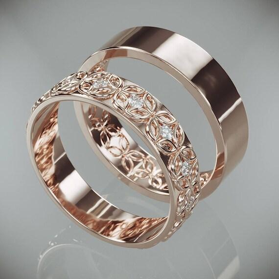 14k Rose Gold Celtic Flower Wedding Rings Set With Diamonds Etsy