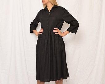 Black linen dress, long sleeves dress, boho linen dress, dress for women, linen dress women, linen dress free shipping, linen dress sale 40%