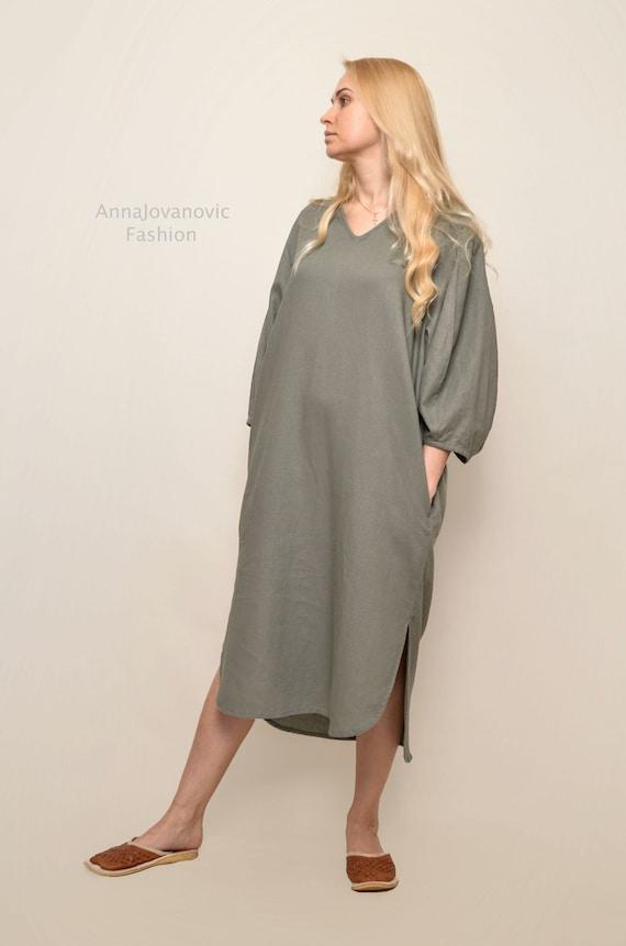 Olive linen dress, long sleeves dress, linen dresses for women, olive summer dress, linen womens clothing, womens maxi dress, linen dress