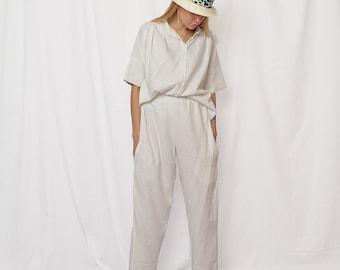 linen white pants, boho pants, pants with pockets, minimalist trouser, linen sale 25%, linen womens clothing, comfortable trouser, linen