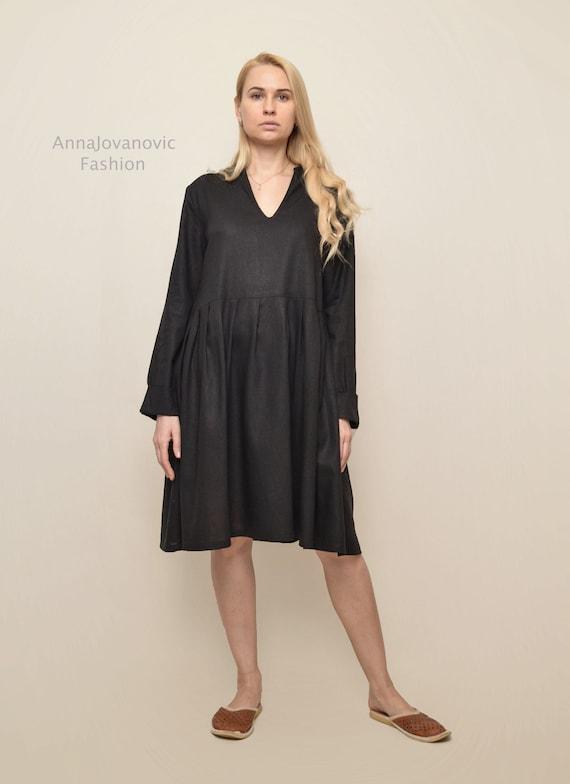 linen dress women long sleeves dress black linen dress  ba1ca6527