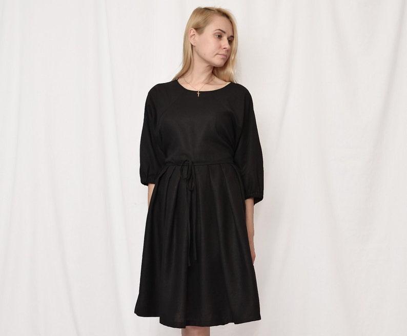 linen dress free shipping dress for women sale linen dress women sale women linen dress linen dress sale 40/% Black linen tie belt dress