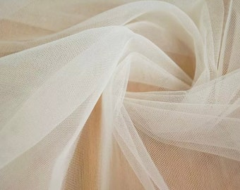 Champagne Tulle fabric, Extra wide 3.15 m (124 in), Soft tulle fabric,  Soft tulle fabric, Bridal Fabric, Mesh Fabric, Wedding Tulle fabric,
