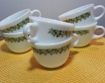 Vintage Set 6 Pyrex Spring Blossom Crazy Daisy Milk Glass Mugs Coffee Cups