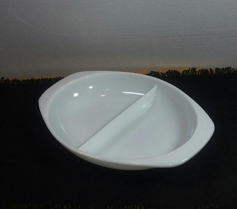 Pyrex Divided Dish; Vintage Pyrex Milk Glass Divided Serving Dish; Pyrex Milk Glass; Pyrex 1063; 1 12 Quart Oval Pyrex Dish