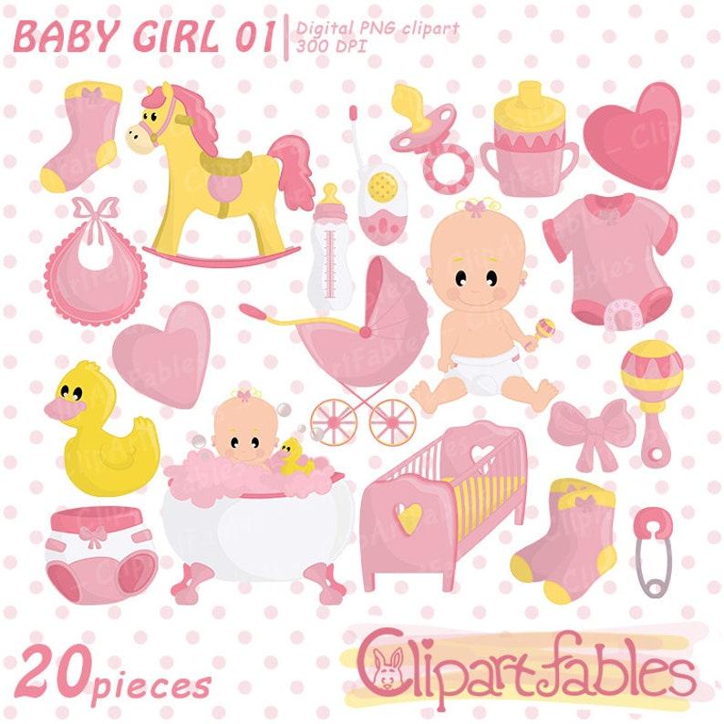 Girl Baby Shower Clip Art Cute Baby Girl Clipart Pink Girl Etsy