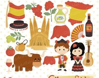 SPAIN clip art, Cute toreador clipart, Spanish Guitar art, Travel clipart, European theme - Instant Download / Commercial and personal use