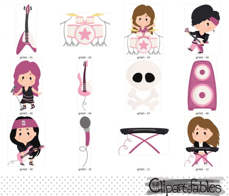 Instant download rockstar pop and rock digital clipart for girls Music clip art Girl Rock Star clipart cute rock and roll design