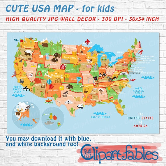 Cute Usa Map.Printable Usa Poster Cute Baby Gift Nursery Wall Decor Etsy