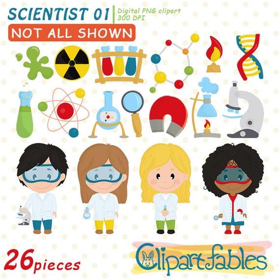 Cute Scientist Kids Clipart Science Clip Art Scientist Etsy