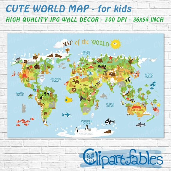 Printable World Map High Resolution Unique Baby Gift Etsy