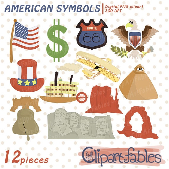 Usa National Symbols Clipart Travel Clip Art United States Etsy