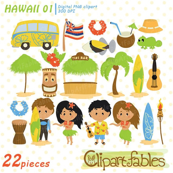 Tiki Girl Bamboo Hibiscus Die Cut Ukelele Hawaiian Tropical Summer Vacation Woman Illustration Clipart Elements Surfboard Tiki Lamp