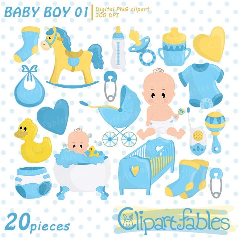 Boy Baby Shower Clipart Baby Boy Clip Art Blue Boy Birthday Etsy