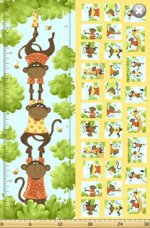 Growth Chart Fabric Susybees Ollie Monkey Growth Chart Etsy