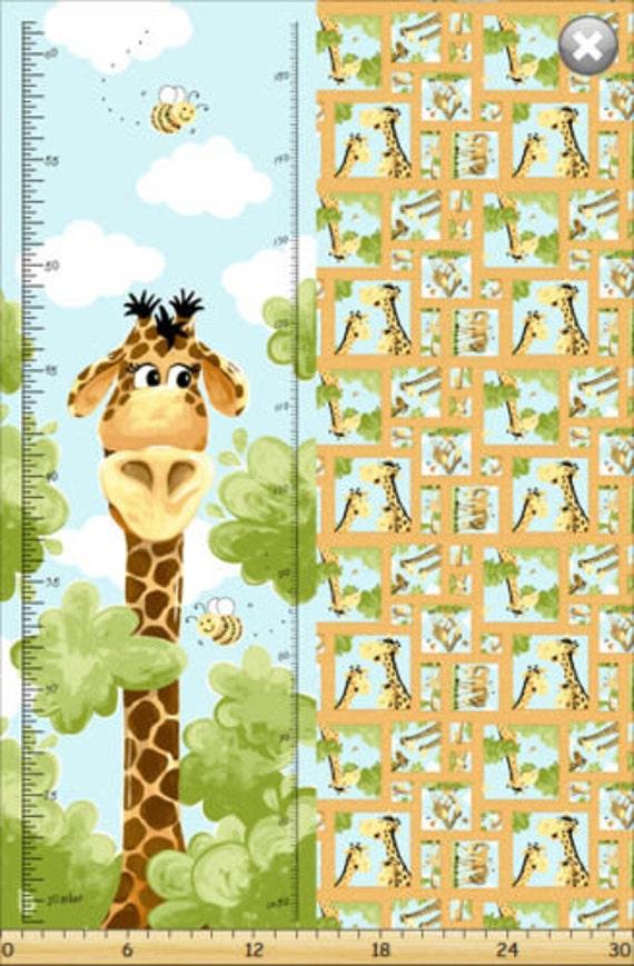 Growth Chart Fabric Susybees Zoe Giraffe Growth Chart Etsy