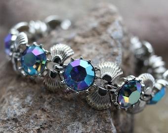 "Vintage Coro AB rhinestone bracelet, 7"" long,  Aurora Borealis goldtone bracelet, signed Coro, estate jewelry, bridal jewelry, gifts for her"