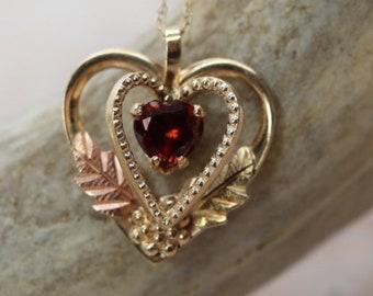 "Estate Garnet Heart pendant, rose gold, yellow gold, 18"" necklace chain, fine estate jewelry, January Birthstone, 2nd anniversary"