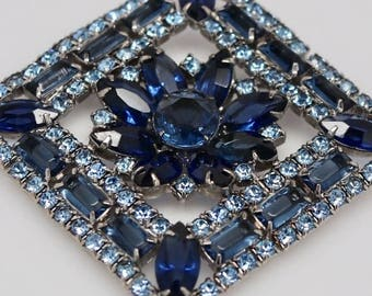 Vintage Blue Rhinestone flower brooch, silver-tone setting, large square blue rhinestone pin, estate jewelry, bridal jewelry, Something blue
