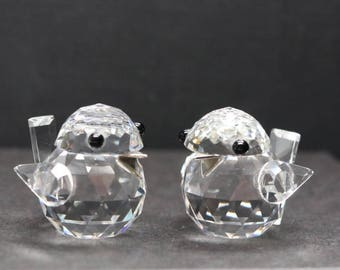 95120e585 RETIRED Swarovski Crystal Sparrow Figurines, set of 2, made in Austria,  signed Swarovski Sparrow, Vintage Swarovski, 15th anniversary gift