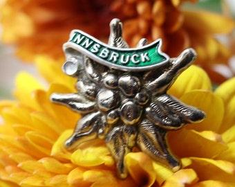 Vintage Innsbruck Edelweiss  brooch pin, Austrian travel silvertone and green enamel hat pin