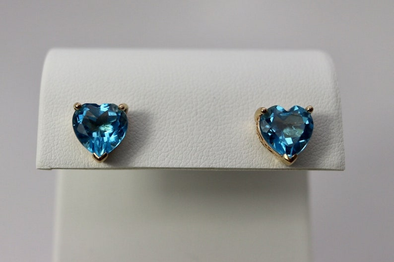 fine estate jewelry 9mm 3 ct each yellow gold Blue Topaz heart earrings Estate Blue Topaz Earrings November Birthstone 4th anniversary