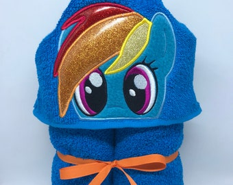 towel for kids swimming colorful horse rainbow dash inspired hooded towel my little pony show kids gift horses kid hooded bath towel etsy
