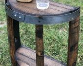 Half Bourbon Barrel End Table