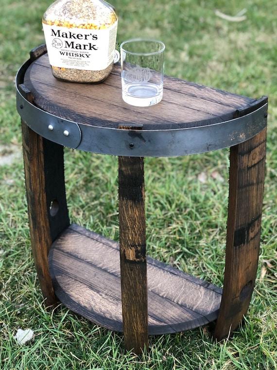 Half Bourbon Barrel End Table, Bourbon Barrel Furniture