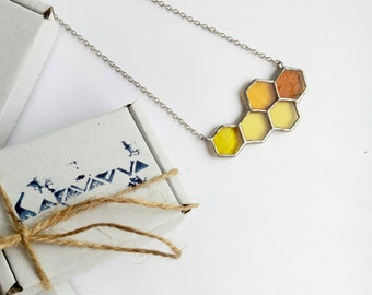 Stained glass honeycomb bee jewelry pendant geometric necklace concrete jewelry minimalism style black white o yellow gifts for her