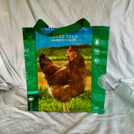 Reusable Shopping Bag Craft Tote Recycled Tote Bag Chicken Lover Gifts Upcycled Chicken Feed Bag Market Tote Repurposed Feed Sack