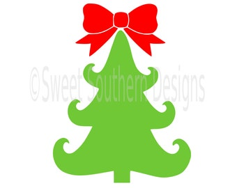 Christmas tree monogram with bow SVG instant download design for cricut or silhouette