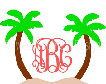 Monogram palm trees beach SVG instant download design for cricut or silhouette