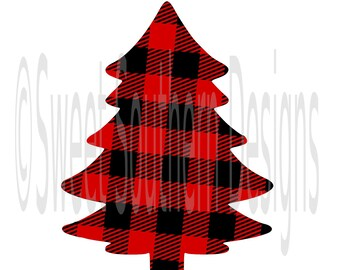 Christmas tree layered plaid pattern silhouette winter Christmas SVG DXF PDF instant download design for cricut or silhouette