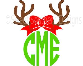 Reindeer antler with bow monogram deer  SVG instant download design for cricut or silhouette