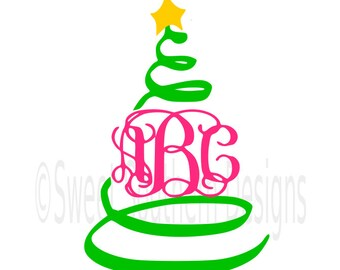 Swirly Christmas tree monogram  SVG instant download design for cricut or silhouette