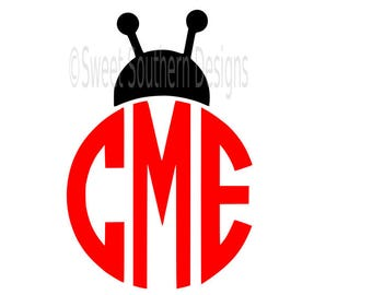 Ladybug monogram frame SVG DXF instant download design for cricut or silhouette