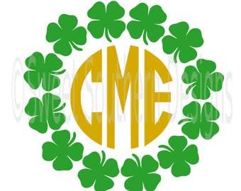 f51257b5b Shamrock clover monogram circle frame St Patricks Day SVG instant download  design for cricut or silhouette
