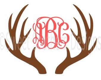 Deer antler monogram SVG instant download design for cricut or silhouette