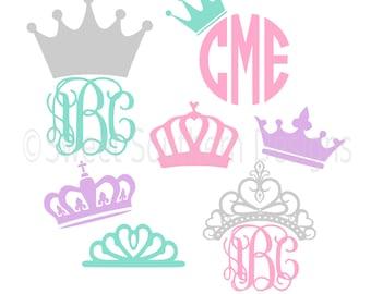 Monogram tiara crown SVG instant download design for cricut or silhouette