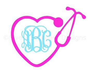 Monogram nurse heart stethoscope SVG instant download design for cricut or silhouette